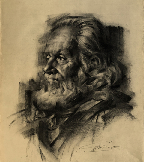 Captain Rick Miano, charcoal on paper, by Charles Miano