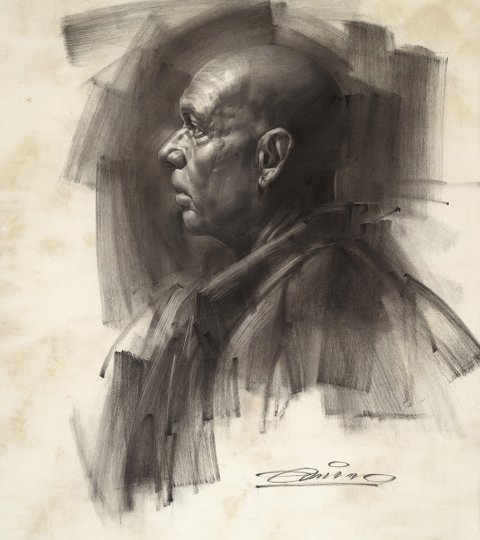 Claudio, Charcoal on Paper by Charles Miano