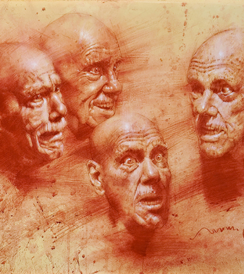 Charles Miano, Expression studies, red chalk on paper, 14x17