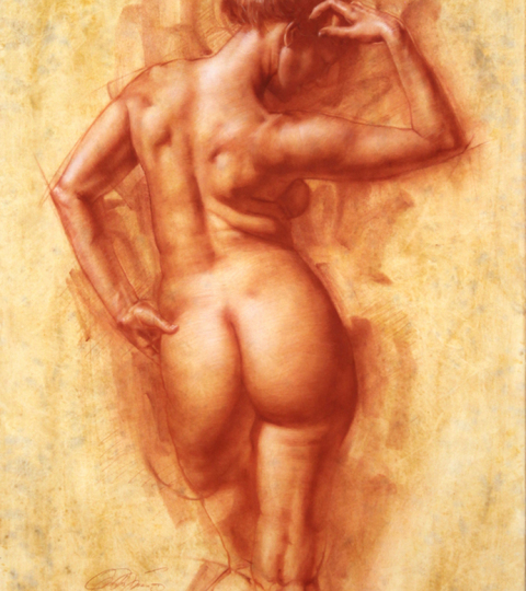 Charles Miano, Female Figure, red chalk on paper