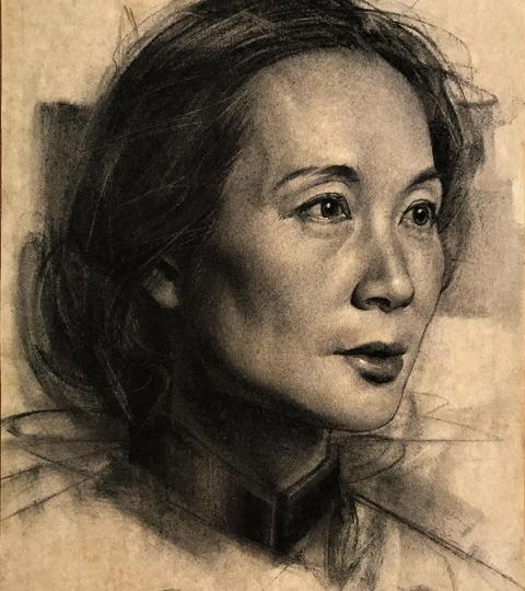 Jian Li, charcoal on paper, by Charles Miano