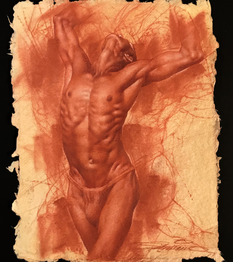 Red Chalk figure study by Charles Miano