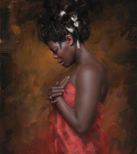 Mourning, oil on canvas, by Charles Miano