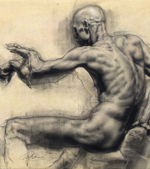 Charles Miano, Man Reaching, charcoal on paper, 20x24