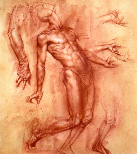 Charles Miano, Study of Achilles, red chalk on paper, 17x22