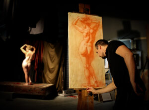 red chalk drawing-model