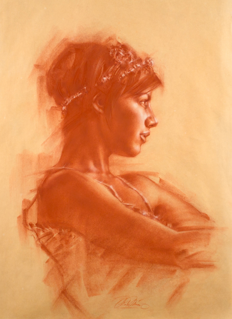 Charles Miano Drawing of Christin, red chalk on paper